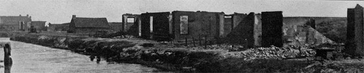 Verbrande huizen in Valthermond op 21 mei 1917