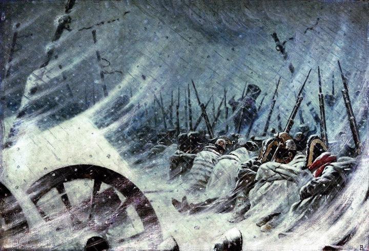 Nachtbivak van de Grande Armee' - schilderij, Vasily Vereshchagin (1842–1904)
