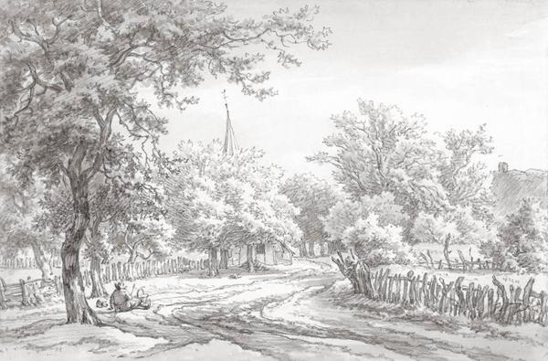 In 2006 dook bij een kunsthandelaar deze ingelijste tekening van de bekende schilder Egbert van Drielst (1745-1818) op. De tekening is gedateerd 1780 en vermeldt aan de achterkant 'te Emmen in Drenthe'. De toren van de kerk steekt net boven de bomen uit. Deze tekening is door de gemeente Emmen aangekocht.