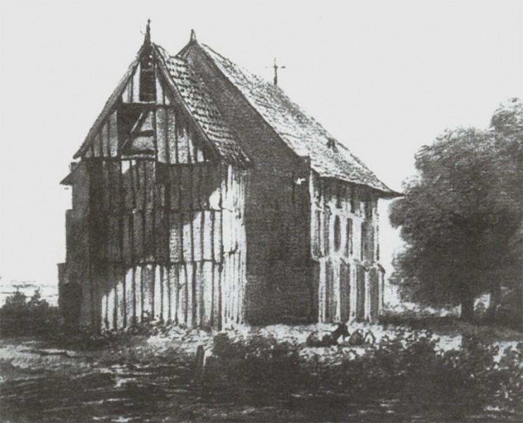De kerk van Roswinkel omstreeks 1845. De tekening in zwart krijt en inkt werd gemaakt door Johannes van Ravenswaay Gijsb.zn.