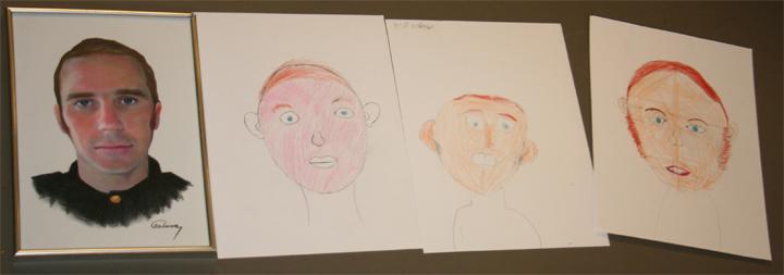 Links Gerrit Arends. Rechts daarvan de tekeningen van de jonge kunstenaars.