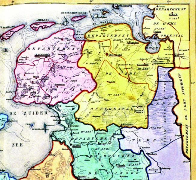 Kaart van het departement Westereems (1 januari 1811 - 29 maart 1814)