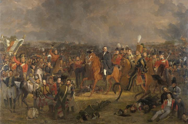 Jan Willem Pieneman beeldt hier linksonder de gewonde Prins van Oranje af; in het midden Wellington en met bruine kolbak Uxbridge die weldra het rechterbeen afgeschoten zou worden. Rechts op het schilderij een aantal gewonde en dode soldaten. (Rijmksmuseum Amsterdam)