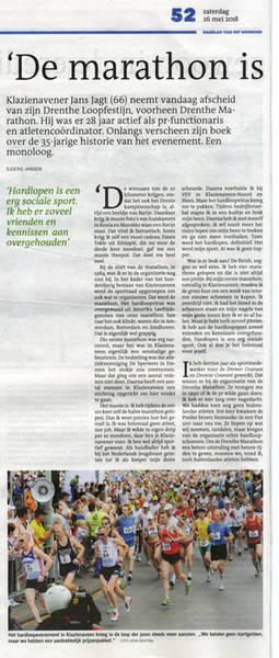 Drenthe Marathon, Dagblad van het Noorden 26-05-2018