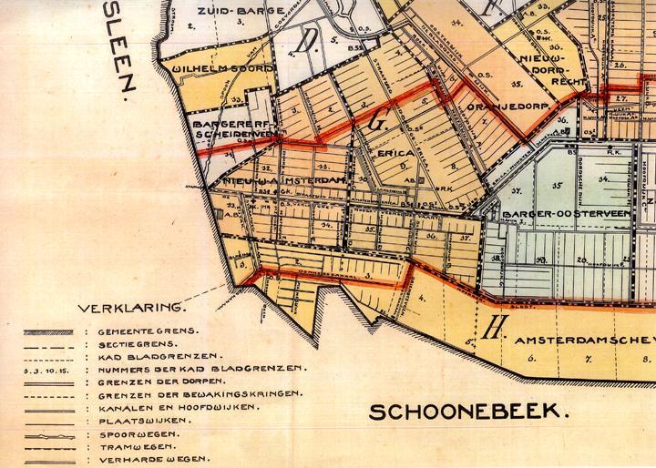 Een detailkaart van de gemeente Emmen anno 1918. Op deze kaart staan de grenzen van de dorpsgemeenschap Erica duidelijk weergegeven. Het overgrote deel van Erica valt onder sectie G. (Gemeente Archief Emmen, februari 1918, architect P. Nauta)