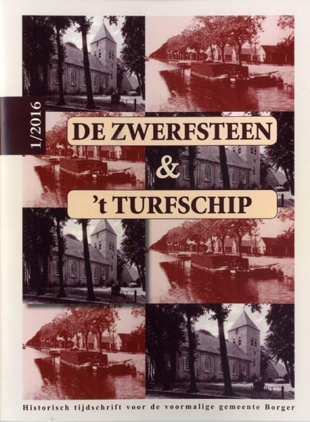 Omslag tijdschrift De Zwerfsteen/'t Turfschip. Stichting Harm Tiesing. Historische vereniging Nieuw-Buinen/Buinerveen.