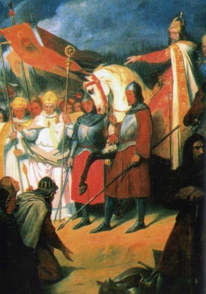 Karel de Grote neemt in 777 in Paderborn Widukinds onderwerping aan. Een geromantiseerd schilderij van de Fransman Ary Scheffer. Widukind was op dat moment niet in Paderborn. Pas in 785 gaf de moegestreden Saksische leider zich over.