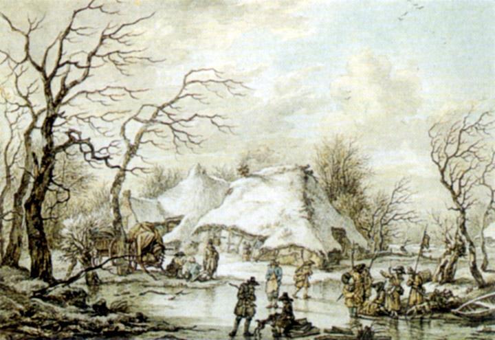 Jan Hulswit (1766-1822), Winters tafereel in Drenthe in 1795