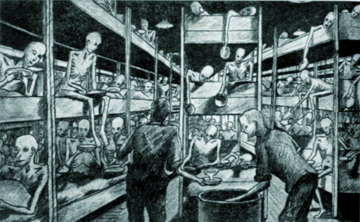 Overvolle kribben, drie hoog, nauwelijks kleding, nauwelijks te eten ... (uit: Nederlanders in Neuengamme, blz. 100).