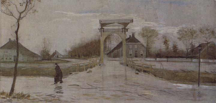Vincent van Gogh, Ophaalbrug in Nieuw-Amsterdam, herfst 1883, waterverf, 385x810, Groninger Museum.
