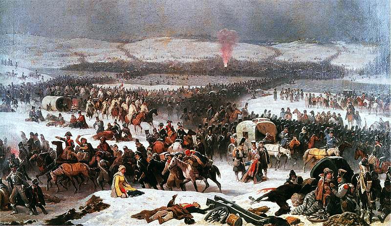 Napoleon steekt de Berezina over Olie op doek door January Suchodolski