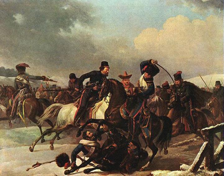 Kozakken in strij met terugtrekkende Franse soldaten, schilderij van Auguste-Joseph Desarnod (1788-1840). De soldaat op de voorgrond, van zijn paard gevallen, is Desarnod.